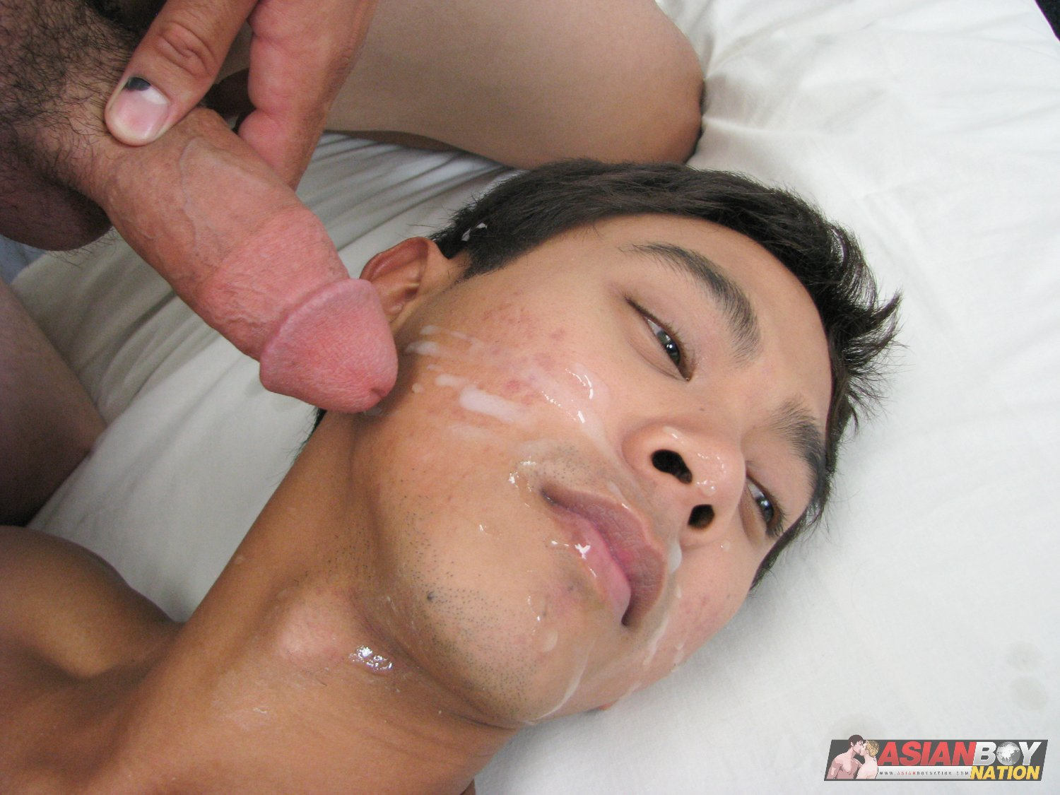 Asian-Boy-Nation-Big-Asian-Cock-Cumfest-15 Sexy Uncut Asian Gets a Face Full of Cum From 2 Hot Twinks